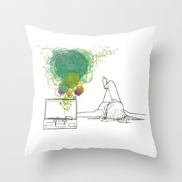 Record Playing Throw Pillow