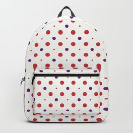 Red and purple dots circles over beige background Backpack