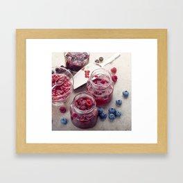 homemade raspberry, blueberry and red currant jam Framed Art Print