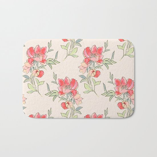 Vintage Floral Green Dot Bath Mat