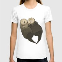 otters T-shirts featuring Significant Otters - Otters Holding Hands by StudioMarimo