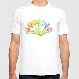 Rainbow Tulips, Spring Flowers T-shirt