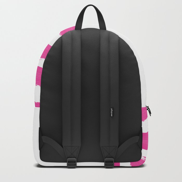 Simply hand-painted pink stripes on white background -Mix and Match Backpack