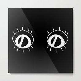 Eyez - white on black Metal Print