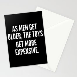 As men get older the toys get more expensive Stationery Cards