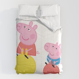 Peppa and George on space hoppers Comforters