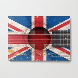 Old Vintage Acoustic Guitar with Union Jack British Flag Metal Print