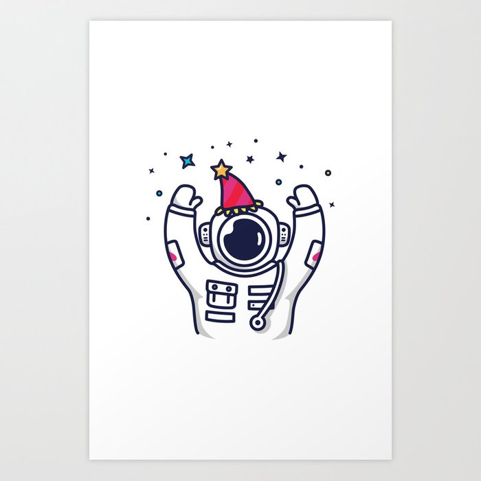 Partying Astronaut Art Print