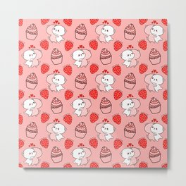 Cute happy cuddling funny Kawaii baby kittens, sweet red summer strawberries and yummy cupcakes bright pastel peach color design. Nursery decor. Metal Print