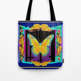 SURREAL BLUE ART YELLOW BUTTERFLY ABSTRACT ART Tote Bag