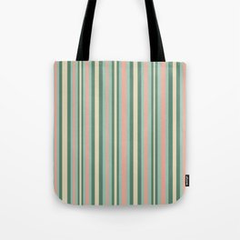 Retro Stripes in Mint Green, Pale Blush, and Cream - Vertical Stripe Pattern Tote Bag