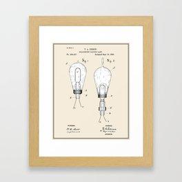 Thomas Edison Electric Lamp Patent - Colour Framed Art Print