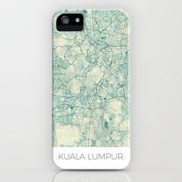Kuala Lumpur Map Blue Vintage iPhone Case