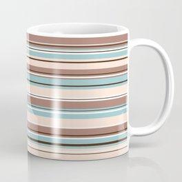Mixed Striped Design Browns Blue Cream White Coffee Mug