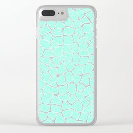 Light Blue Glitter Giraffe Print Clear iPhone Case