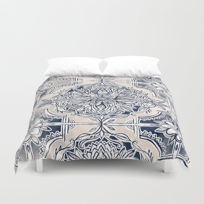 Brush and Ink Watercolor Pattern in Indigo and Cream Duvet Cover