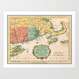 Old World Map of Colony Rhode Island Art Print