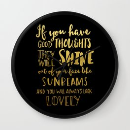 Good thoughts - black and gold Wall Clock
