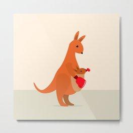 Boxing Kangaroos Metal Print