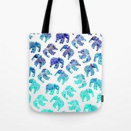 Boho turquoise blue ombre watercolor hand drawn mandala elephants pattern Tote Bag