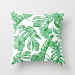 Tropical Island Leaves Green on White Throw Pillow