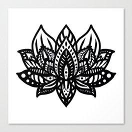 Black Lotus Mandala Canvas Print