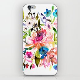 WATERCOLOUR PEONY AND ROSES iPhone Skin