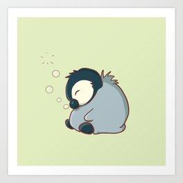 Sleepy baby penguin Art Print