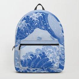 Cerulean Blue Porcelain Glaze Japanese Great Wave Backpack