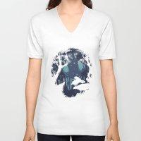 kodama V-neck T-shirts featuring kodama Spirit by Robson Borges