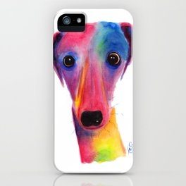 Nosey Dog Whippet Greyhound ' BeLLa ' by Shirley MacArthur iPhone Case