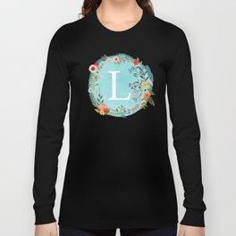 Personalized Monogram Initial Letter L Blue Watercolor Flower Wreath Artwork Long Sleeve T-shirt