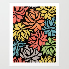 Stylized Dahlia Pattern Art Print