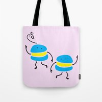 macaron Tote Bags featuring Dancing macaron by Cindys