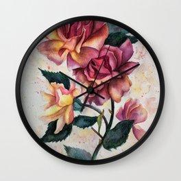 Fresh Tea Roses Wall Clock
