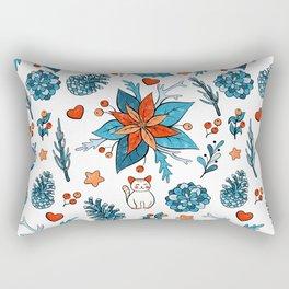 Christmas cat foliage Rectangular Pillow