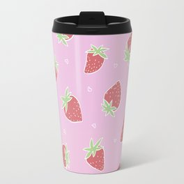 Pink red strawberries Travel Mug