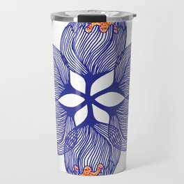 Blue spiral flower Travel Mug