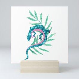 Salamander Lizard with Tropical Leaves Mini Art Print
