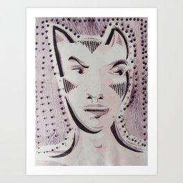 Cat Woman Superhero Cartoon Face Art Print