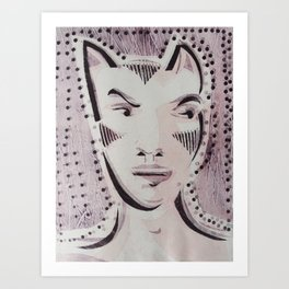 Cat Woman Superhero Cartoon Face Art Print