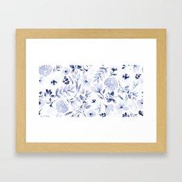 Indigo and white watercolour floral Framed Art Print