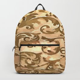 Stylized Foliage Leaves In Gold Backpack