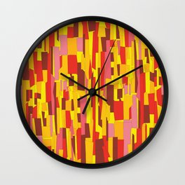 Retro Crackle Glass Pattern in Fiery Colors Wall Clock