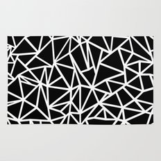 Abstract Outline Thick White on Black Rug
