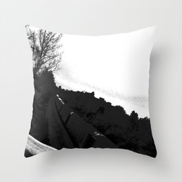The Train//b&w Throw Pillow