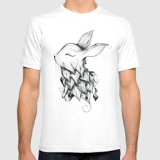 Poetic Rabbit Mens Fitted Tee LARGE White