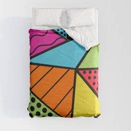 90s Geometric Fashion Pattern Background Triangle Polka Dots Bright Colors Wavy Lines and Neons Comforters