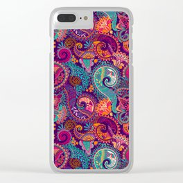Purple Orange & Teal Floral Paisley Clear iPhone Case