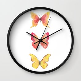 Butterflies Illustration Watercolor - Warm colors Wall Clock